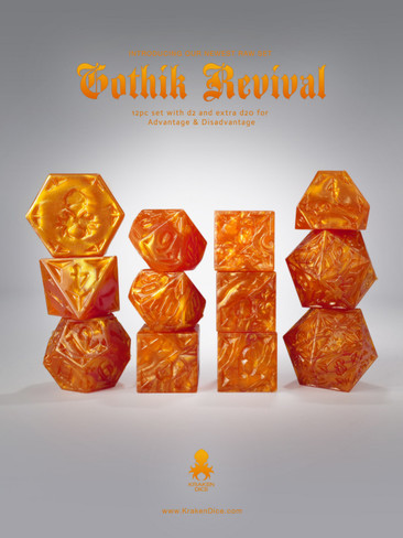 RAW Orange Gothik Revival  RPG 12pc Dice Set