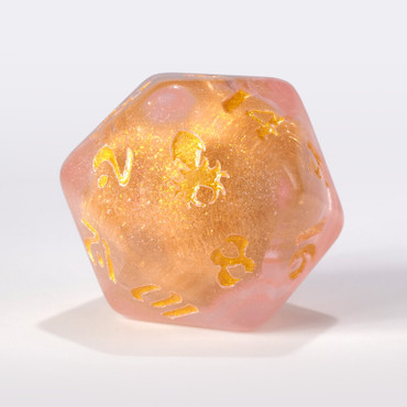 Pink Liquid Core Single D20 with Gold Ink