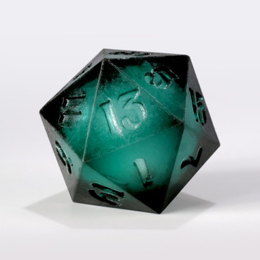 RAW Dark Teal with Silver Liquid Core Single D20