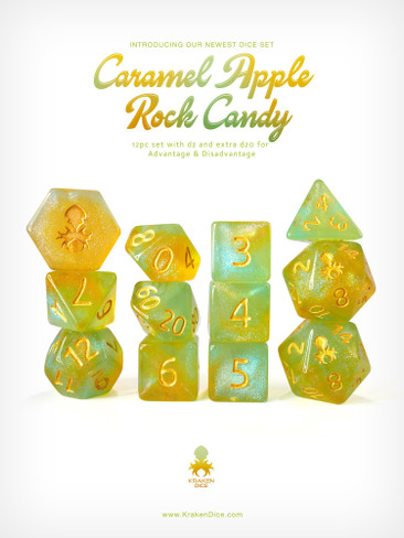 Kraken's Caramel Apple Rock Candy 12pc Polyhedral Dice Set