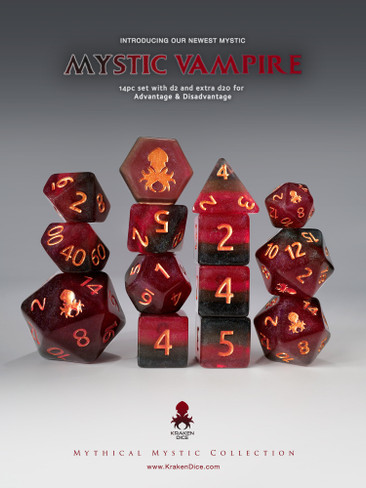 Mystic Vampire 14pc Copper Ink Dice Set