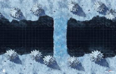 "Kraken Dice RPG Encounter Map Quick Mat- Winterwild Bridge 36""x23"" by MapHammer"