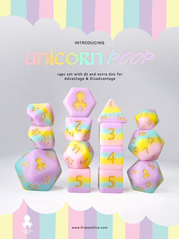 Unicorn Poop Limited Run 14pc Matte Dice Set