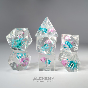 7pc Alchemist's Edge Pink and Blue Flowers by Alchemy Dice