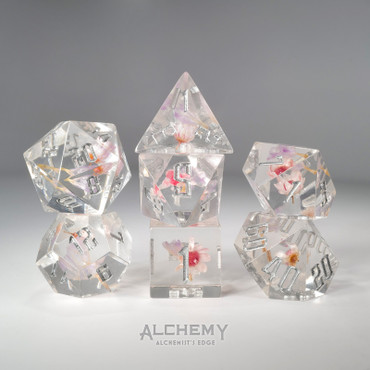 7pc Alchemist's Edge Purple and Pink Flowers by Alchemy Dice