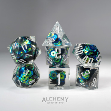 7pc Alchemist's Edge Blue Green Sequins by Alchemy Dice
