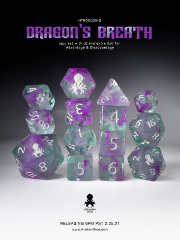 Dragon's Breath: Vapor Glow in the Dark 14pc Limited Edition Dice Se