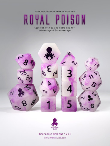 Mutagen: Royal Poison 14pc Glow in the Dark Purple Ink Dice Set