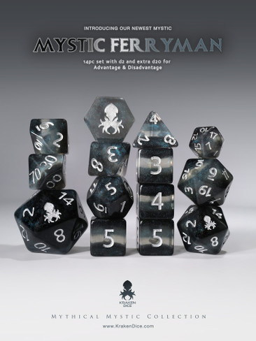 Mystic Ferryman 14pc - Limited Run - Silver Ink Dice Set
