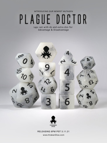 Plague Doctor 14pc Glow in the Dark Black Ink Dice Set