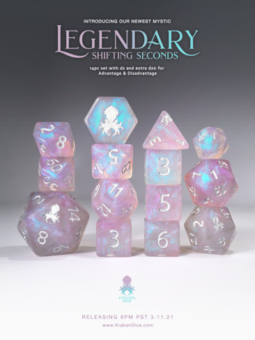 Legendary: Shifting Seconds 14pc Silver Ink Dice Set