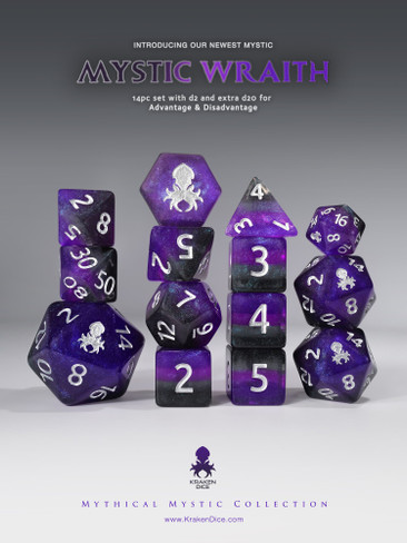 Mystic Wraith 14pc - Limited Run - Silver Ink Dice Set