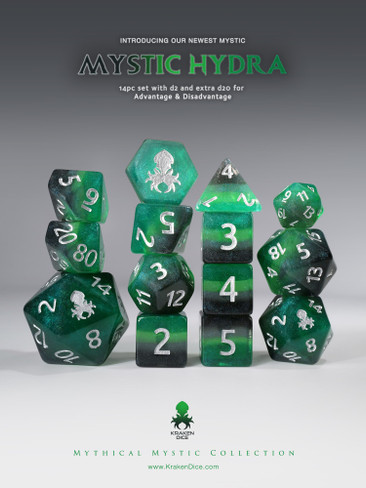 Mystic Hydra 14pc - Limited Run - Silver Ink Dice Set