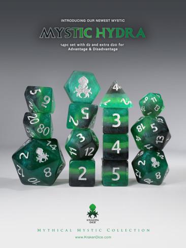 Mystic Hydra 14pc - Limited Run - Silver Ink Dice Set