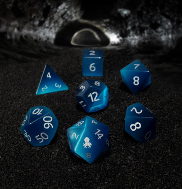 Blue Cat-Eye Semi-Precious 7 pc Glass Dice Set for RPGs