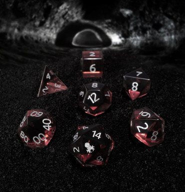 Garnet Glass Semi-precious Gemstone Dice Set