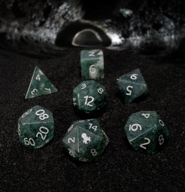 Moss Agate Glass Semi-precious Gemstone Dice Set