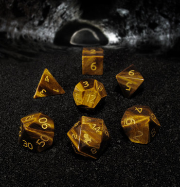 Yellow Tiger Eye Semi-precious Gemstone Dice Set