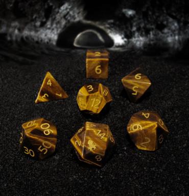 Yellow Tiger Eye Semi-precious Gemstone Dice Set