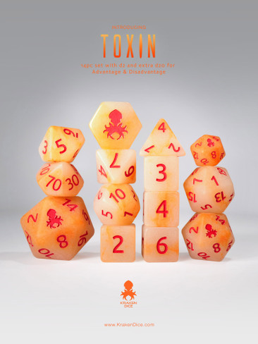 Mutagen:Toxin 14pc Glow in the Dark Orange Ink Dice Set