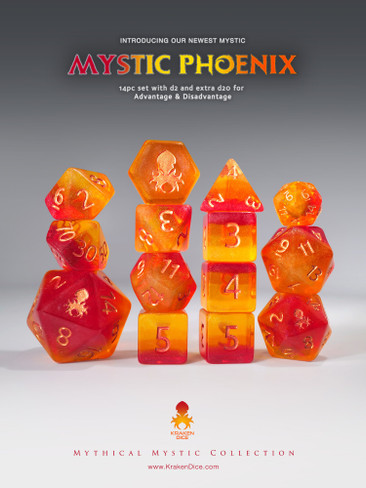 Mystic Phoenix 14pc - Limited Run - Copper Ink Dice Set