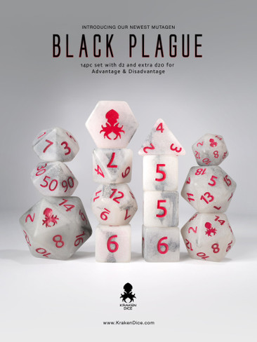 Black Plague 14pc Glow in the Dark Red Ink Dice Set