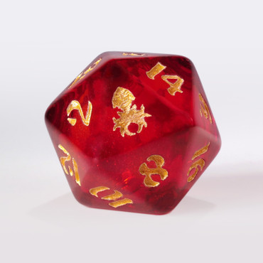 Dark Red Liquid Core with Gold Ink Single D20