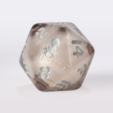 Clear Liquid Core Single D20 with Silver Ink