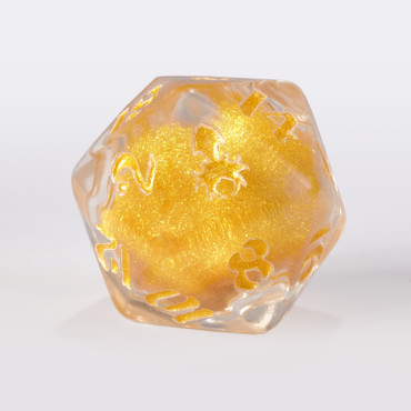 White Liquid Core Single D20 Gold Ink