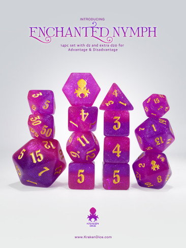Enchanted Nymph 14pc - Limited Run - Gold Ink Dice Set