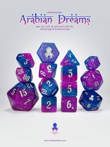 Arabian Dreams 14pc - Limited Run - Silver Ink Dice Set