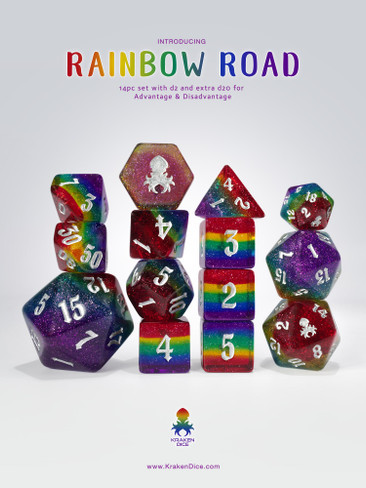Rainbow Road 14pc Dice Set Benefiting The Trevor Project