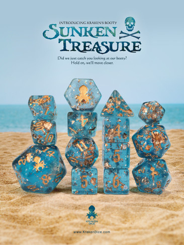 Kraken's Booty: Sunken Treasure 14pc - Limited Run - Copper Ink Dice Set