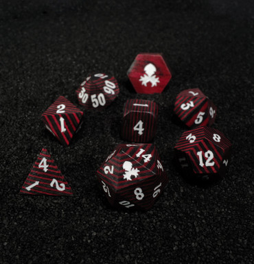 Black and Red 8pc Wooden Dice set