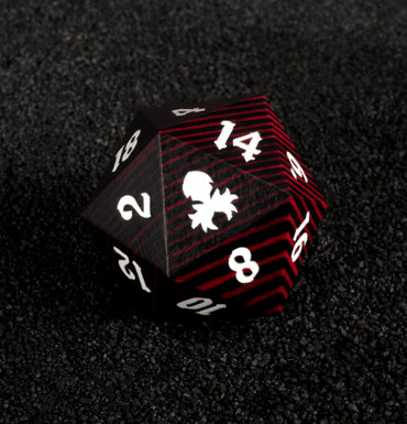 Black and Red 30mm Wooden D20
