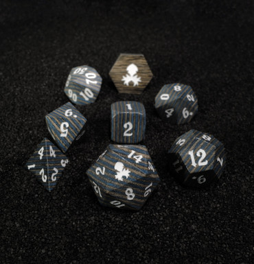 Blue and Black 8pc Wooden Dice set