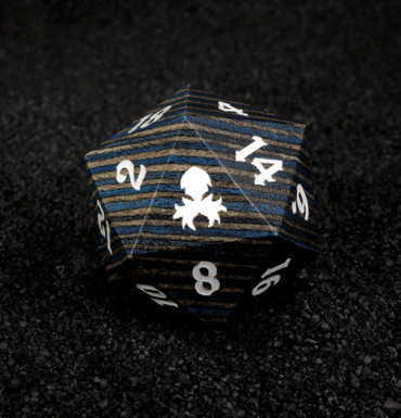 Blue and Black  30mm Wooden D20
