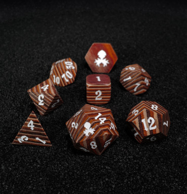 Light Colored 8pc Wooden Dice set