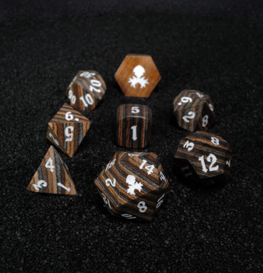 Dark Colored 8pc Wooden Dice set