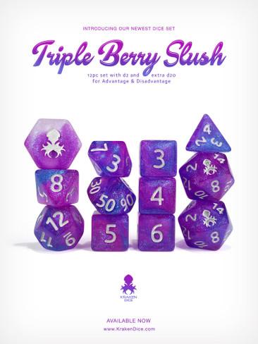 Kraken's Triple Berry Slush Rock Candy 12pc Polyhedral Dice Set