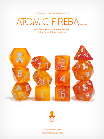 Kraken's Atomic Fireball 12pc Polyhedral Dice Set