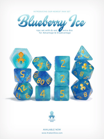 Kraken's Blueberry Ice Rock Candy 12pc Polyhedral Dice Set
