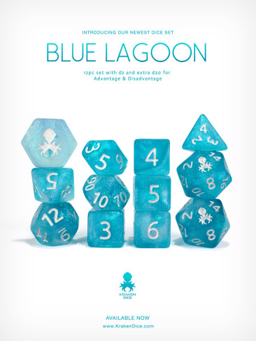 Blue Lagoon 12pc Glitter RPG Dice Set