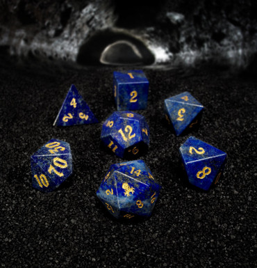 Lapis Lazuli Semi-precious Gemstone 7pc Dice Set