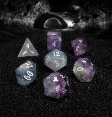 Rainbow Fluorite Semi-Precious 7PC Glass Dice Set