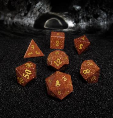 Red Goldstone Semi-Precious 7PC Glass Dice Set for RPGs