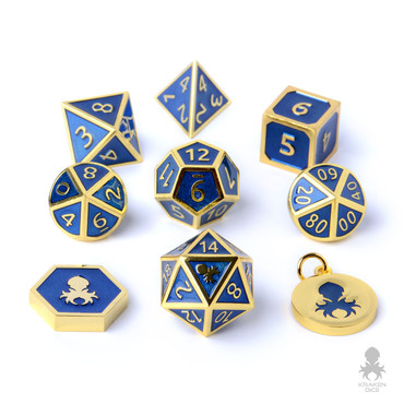 Royal Knight 8pc Metal Dice With Blue Enamel Inlaid