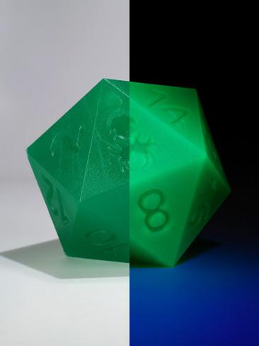 RAW 55mm Glow in the Dark Green D20