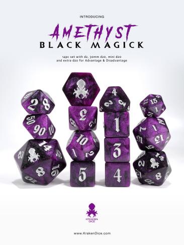 Black Magick: Amethyst Resurrection 14pc TTRPG Dice Set