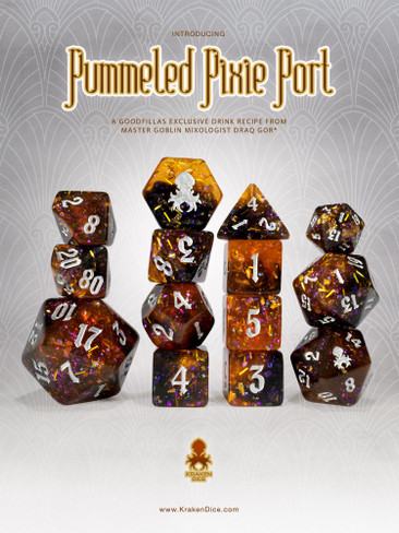 Pummeled Pixie Port 14pc - Limited Run - Silver Ink Dice Set